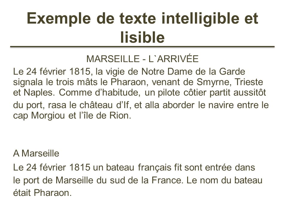Exemple de texte intelligible et lisible