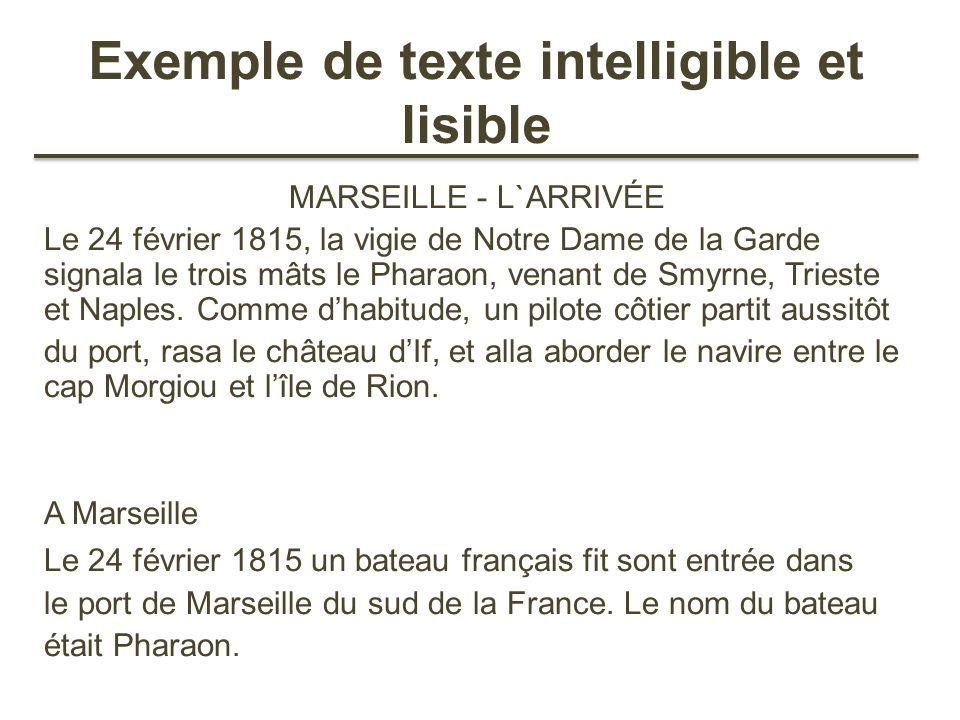 Exemple de texte intelligible et lisible