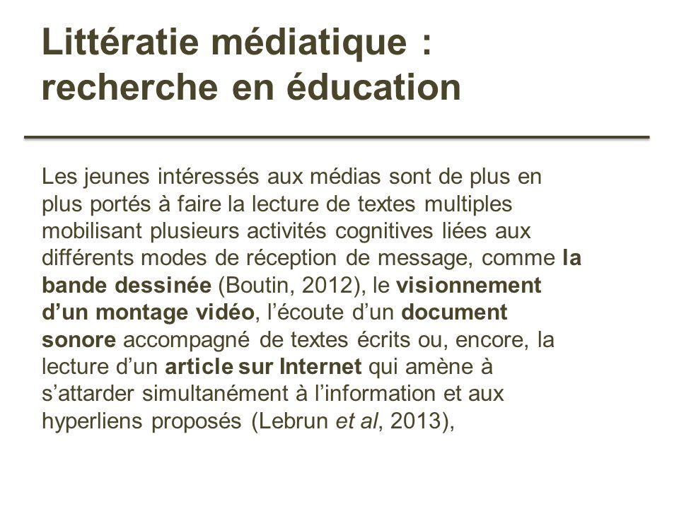 Littératie médiatique : recherche en éducation