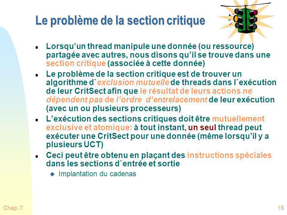 Le problème de la section critique