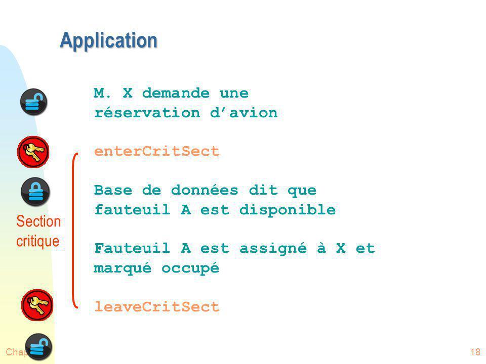 Application M. X demande une réservation d'avion enterCritSect