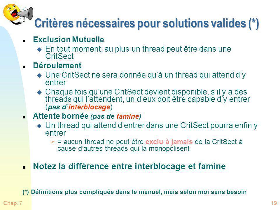 Critères nécessaires pour solutions valides (*)