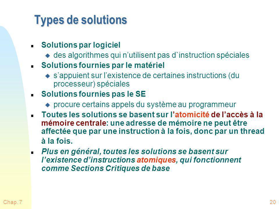 Types de solutions Solutions par logiciel