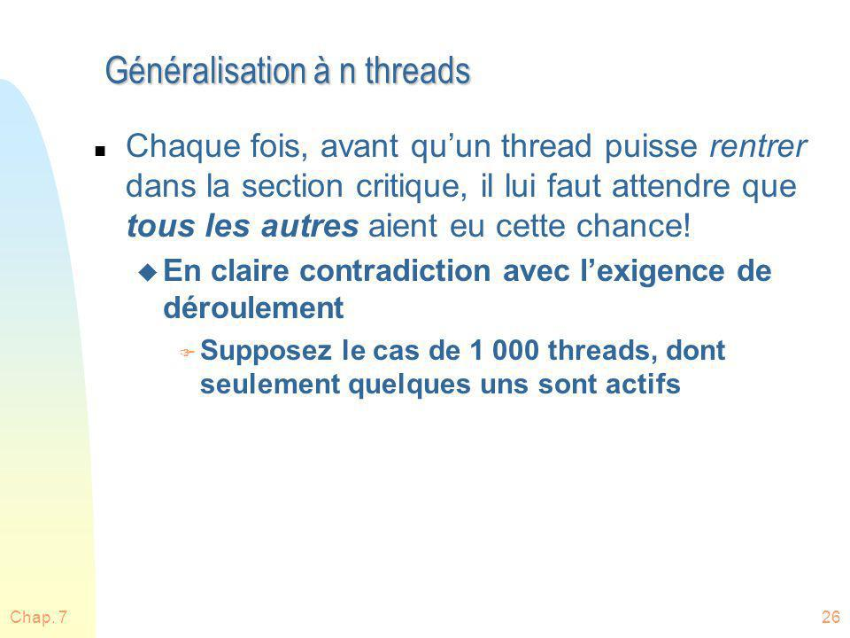 Généralisation à n threads