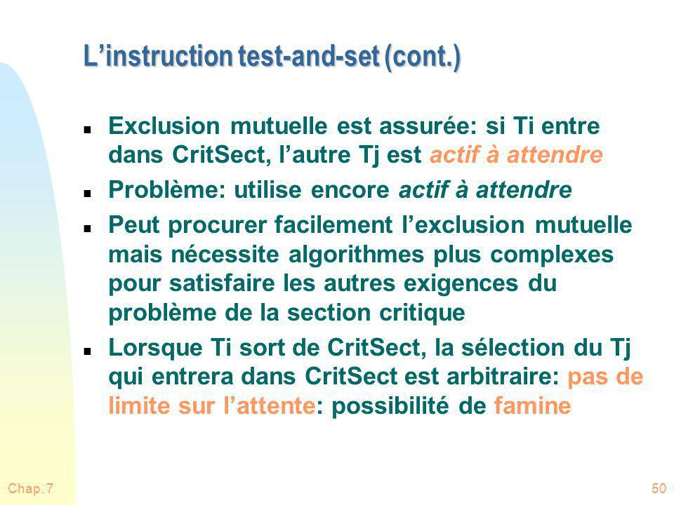 L'instruction test-and-set (cont.)