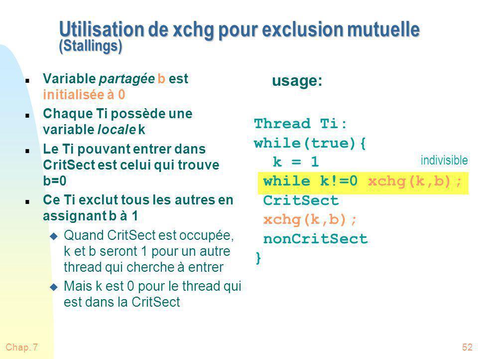 Utilisation de xchg pour exclusion mutuelle (Stallings)