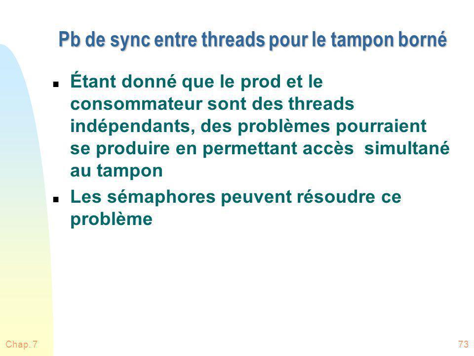 Pb de sync entre threads pour le tampon borné