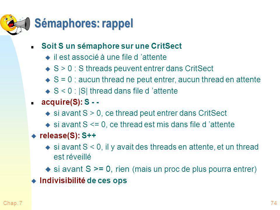Sémaphores: rappel Soit S un sémaphore sur une CritSect. il est associé à une file d 'attente. S > 0 : S threads peuvent entrer dans CritSect.
