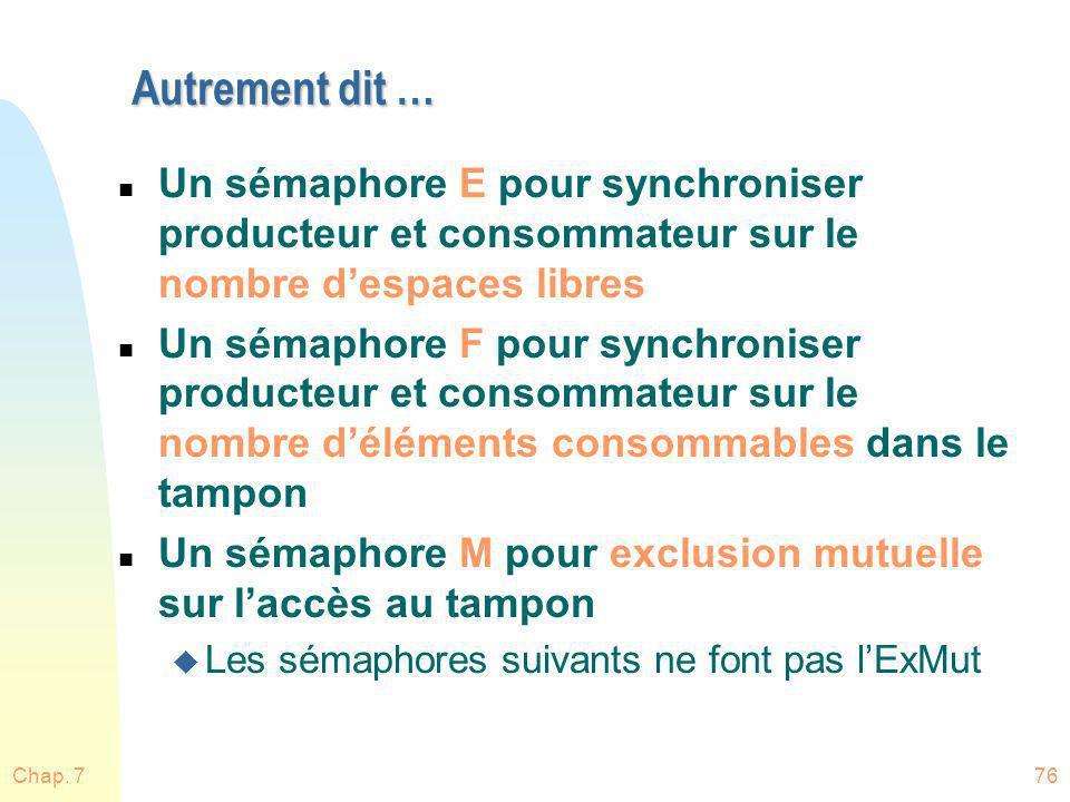 Autrement dit … Un sémaphore E pour synchroniser producteur et consommateur sur le nombre d'espaces libres.