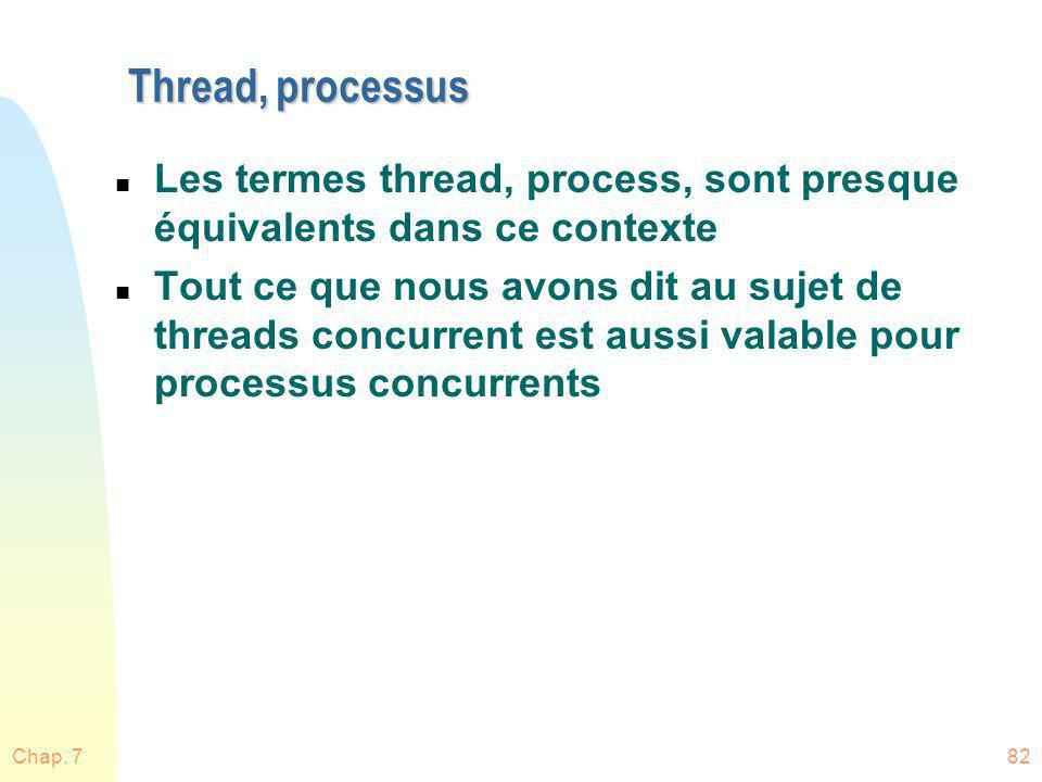 Thread, processus Les termes thread, process, sont presque équivalents dans ce contexte.