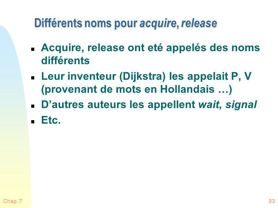 Différents noms pour acquire, release