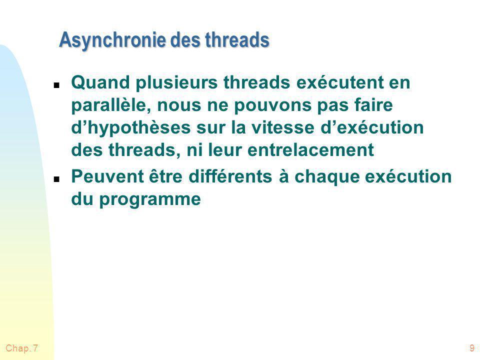 Asynchronie des threads