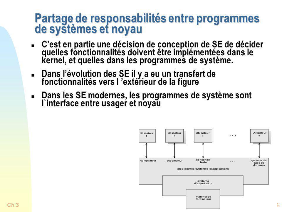Partage de responsabilités entre programmes de systèmes et noyau