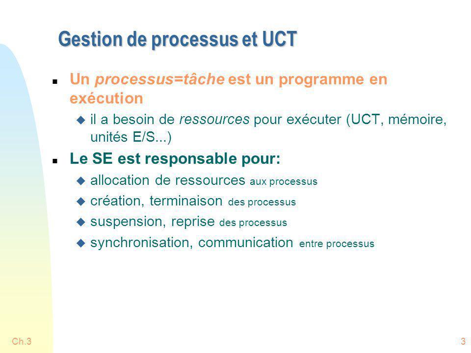 Gestion de processus et UCT