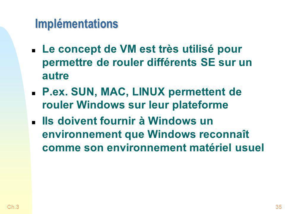 Implémentations Le concept de VM est très utilisé pour permettre de rouler différents SE sur un autre.