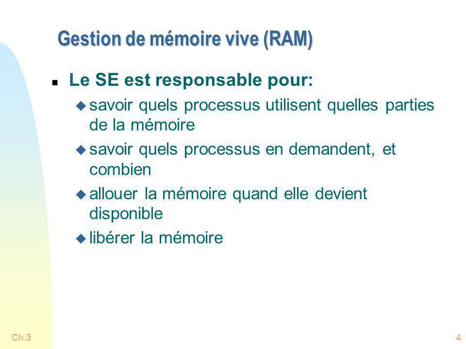 Gestion de mémoire vive (RAM)