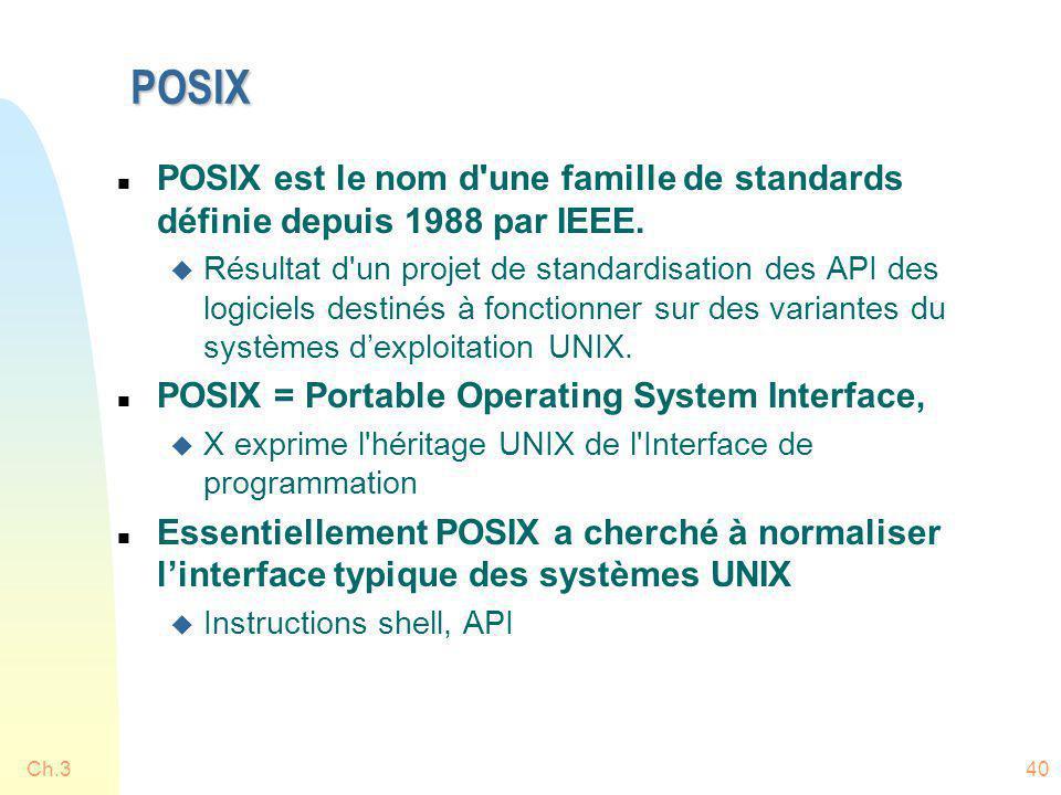 POSIX POSIX est le nom d une famille de standards définie depuis 1988 par IEEE.