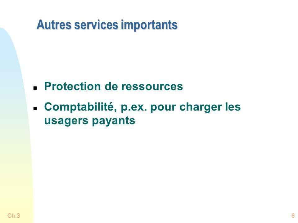 Autres services importants