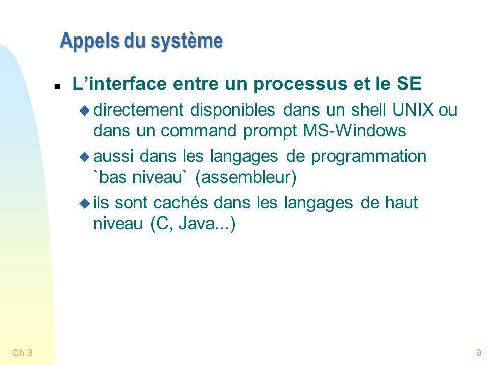Appels du système L'interface entre un processus et le SE