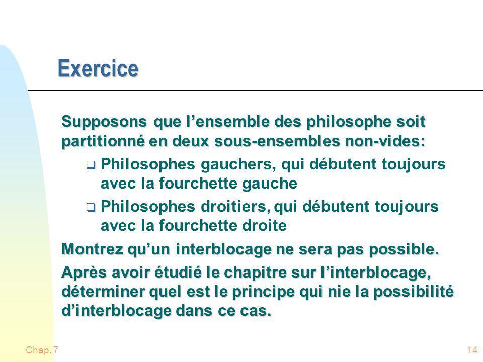 Exercice Supposons que l'ensemble des philosophe soit partitionné en deux sous-ensembles non-vides: