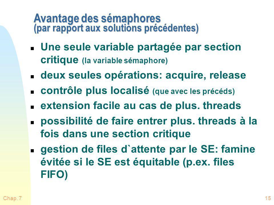 Avantage des sémaphores (par rapport aux solutions précédentes)