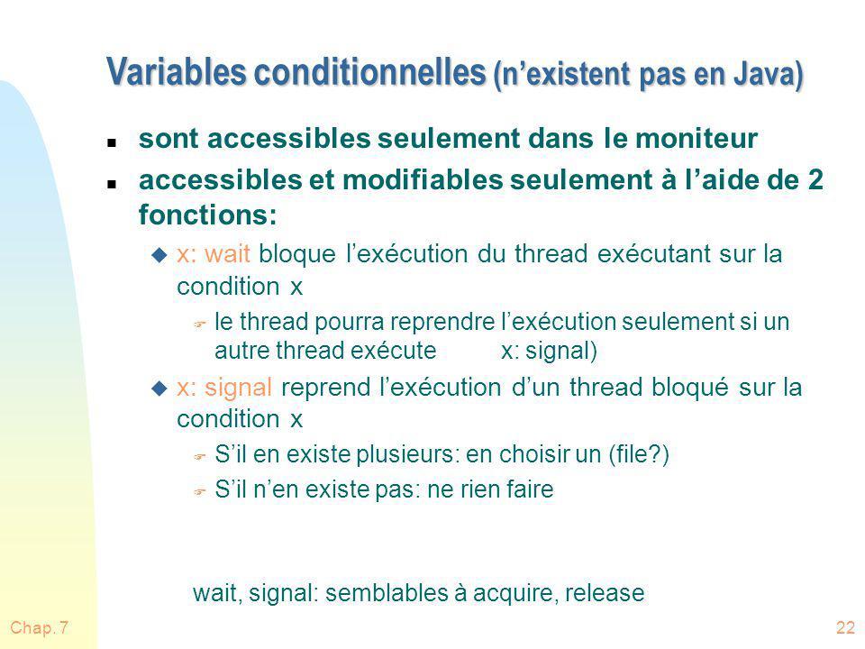Variables conditionnelles (n'existent pas en Java)