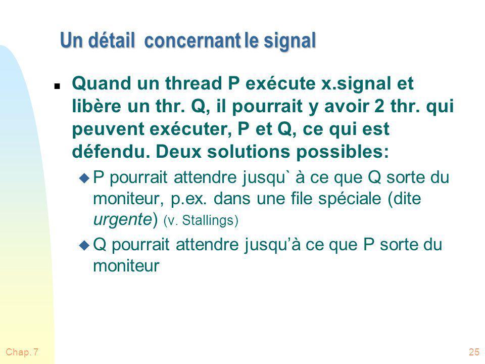 Un détail concernant le signal