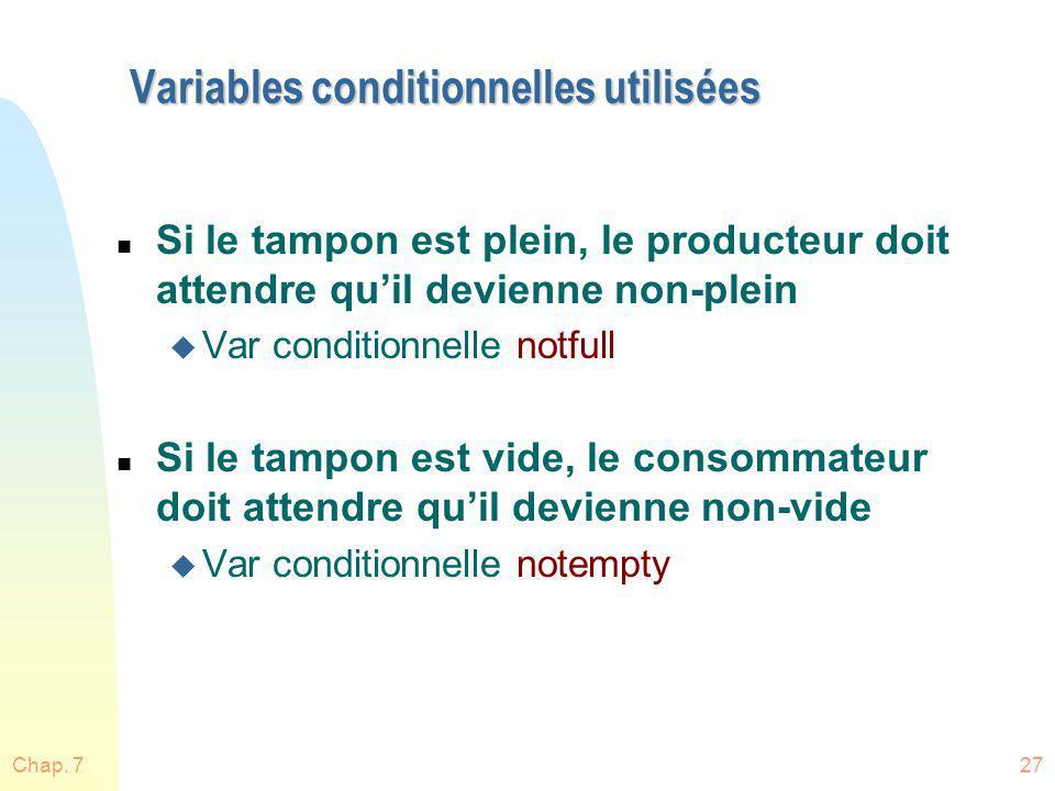 Variables conditionnelles utilisées