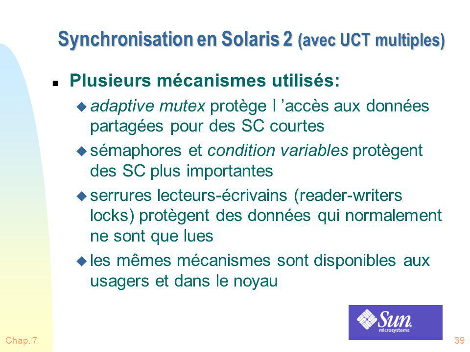 Synchronisation en Solaris 2 (avec UCT multiples)