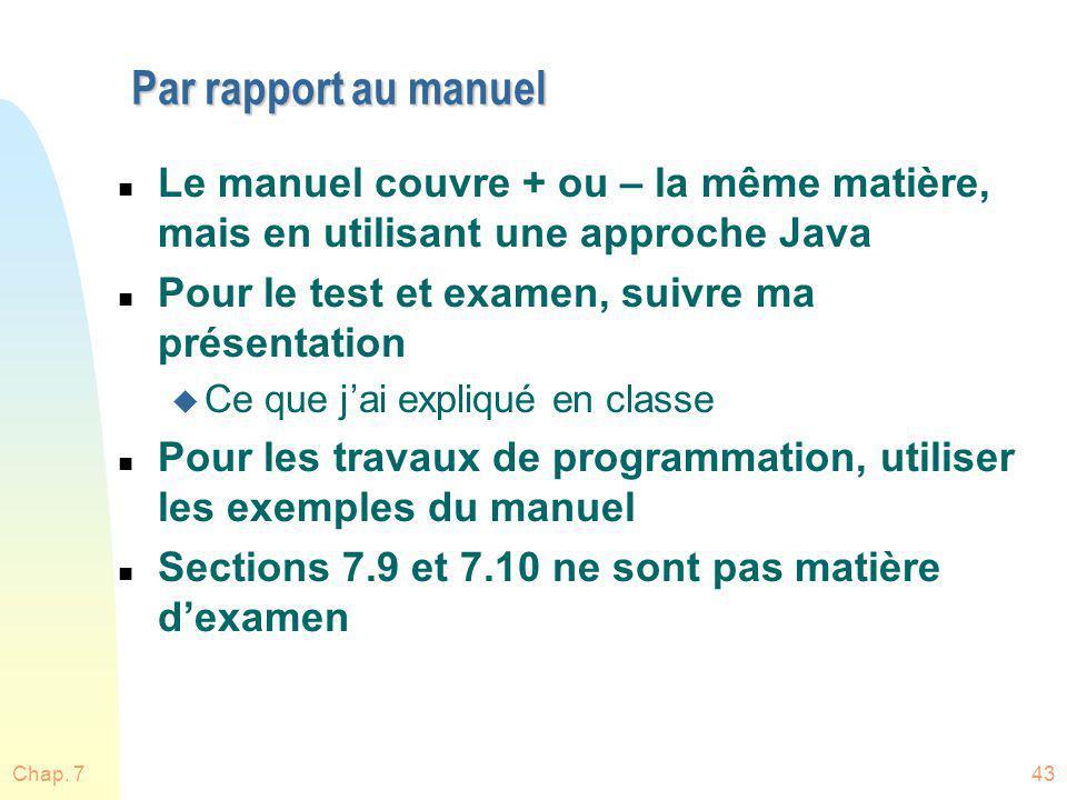 Par rapport au manuel Le manuel couvre + ou – la même matière, mais en utilisant une approche Java.