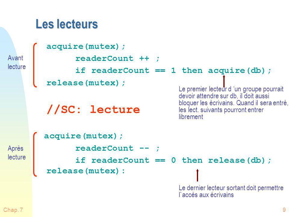 Les lecteurs //SC: lecture acquire(mutex); readerCount ++ ;