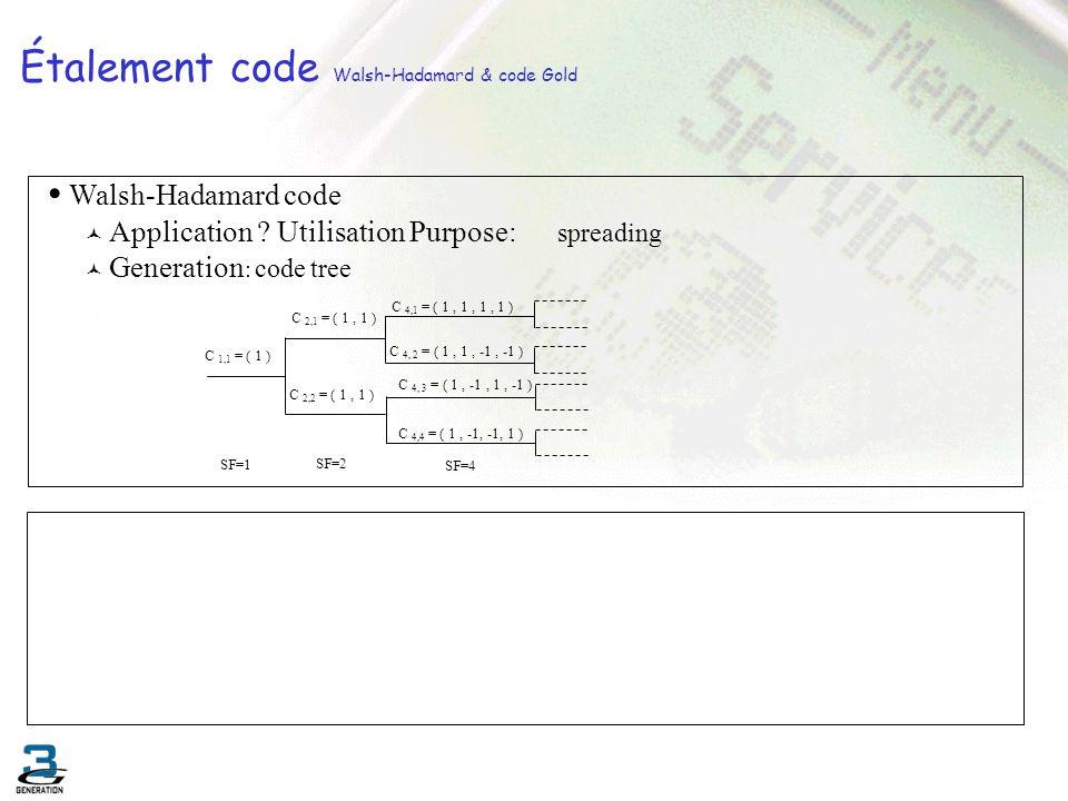 Étalement code Walsh-Hadamard & code Gold