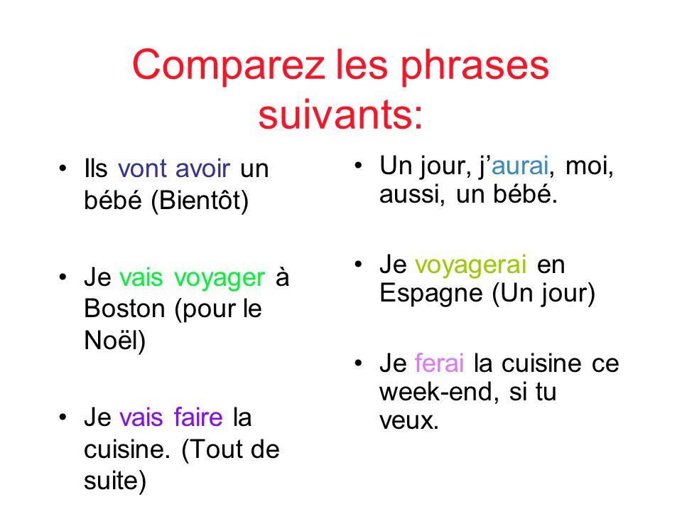Comparez les phrases suivants: