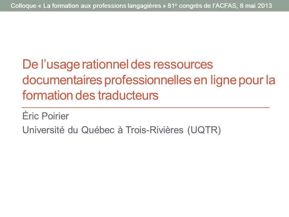Éric Poirier Université du Québec à Trois-Rivières (UQTR)