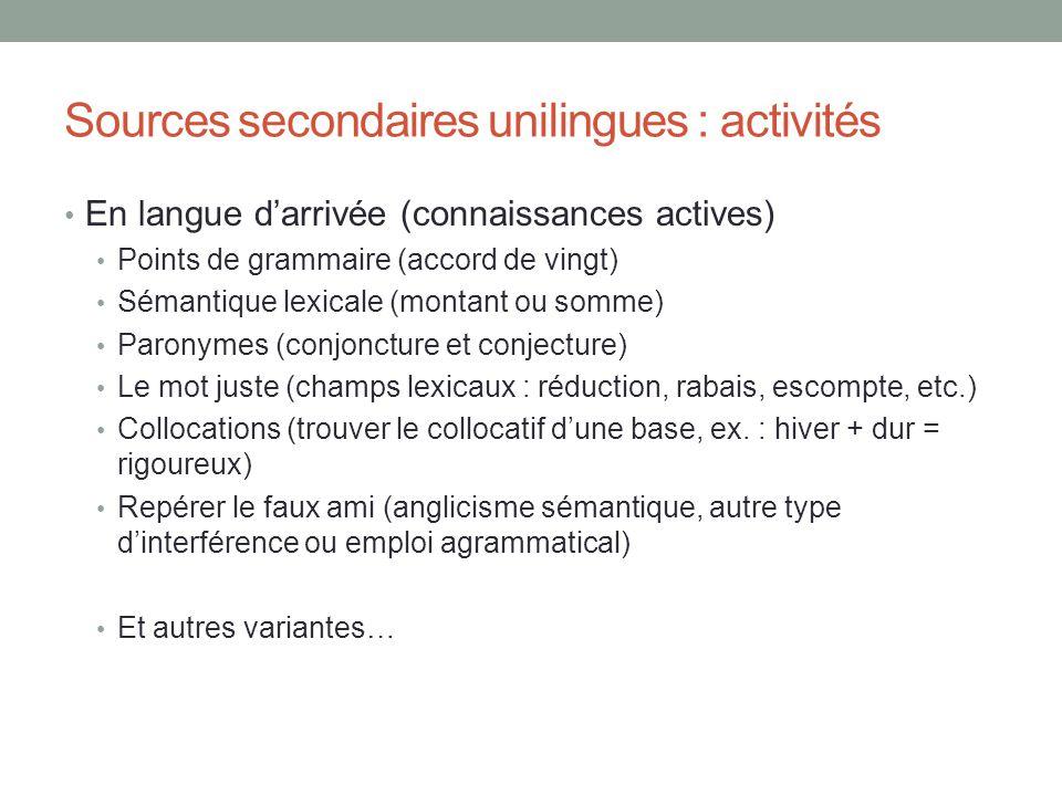 Sources secondaires unilingues : activités