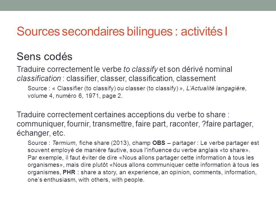 Sources secondaires bilingues : activités I