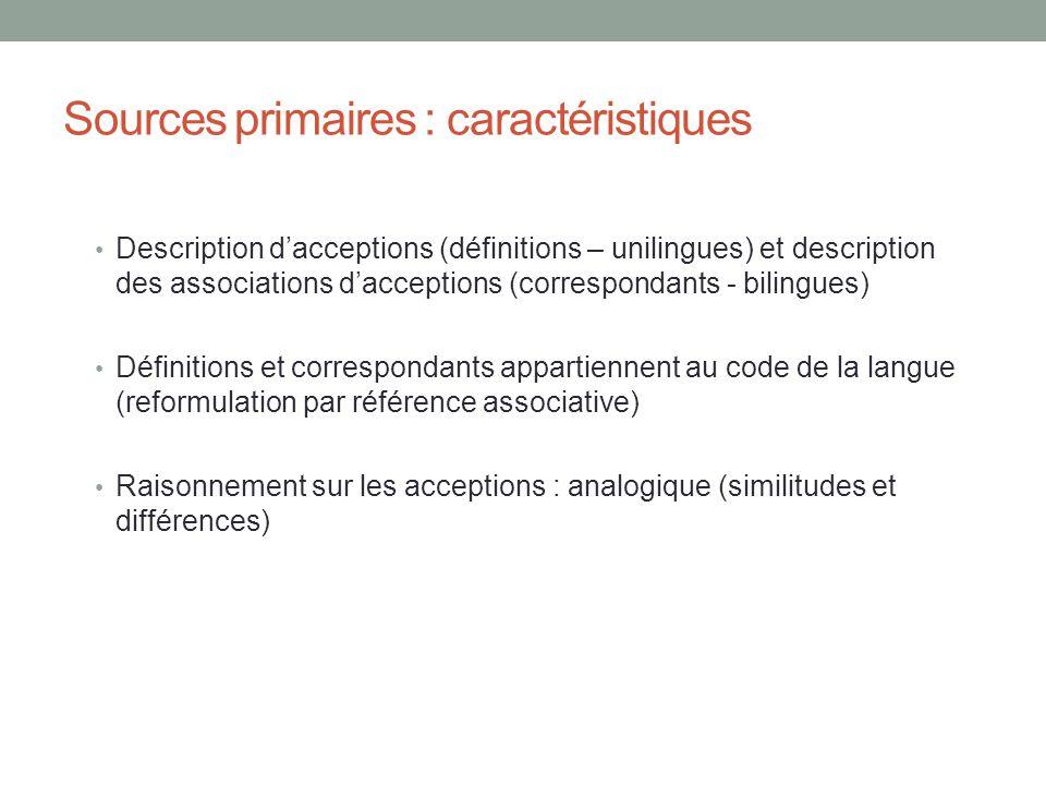 Sources primaires : caractéristiques