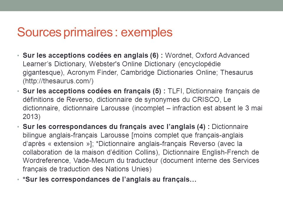Sources primaires : exemples