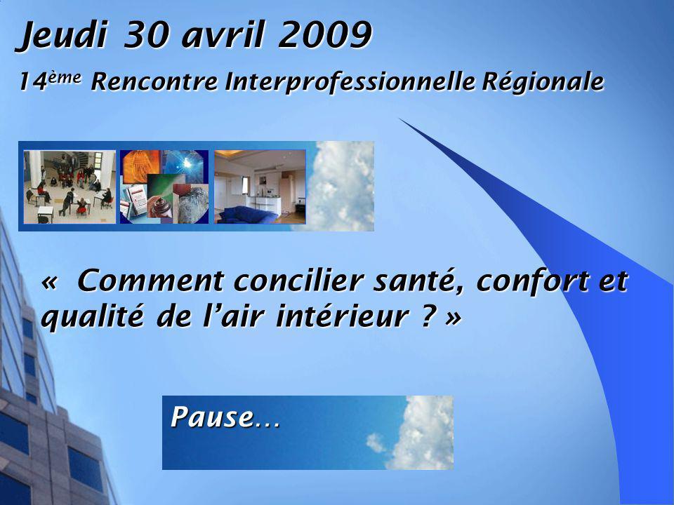 Jeudi 30 avril 2009 14ème Rencontre Interprofessionnelle Régionale. « Comment concilier santé, confort et qualité de l'air intérieur »