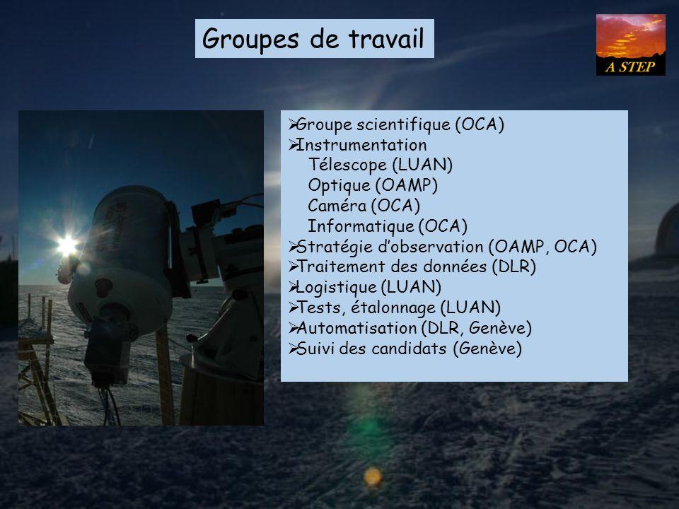 Groupes de travail Groupe scientifique (OCA) Instrumentation