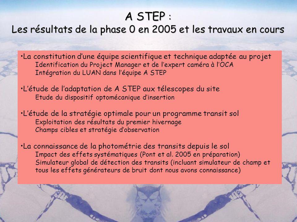 A STEP : Les résultats de la phase 0 en 2005 et les travaux en cours