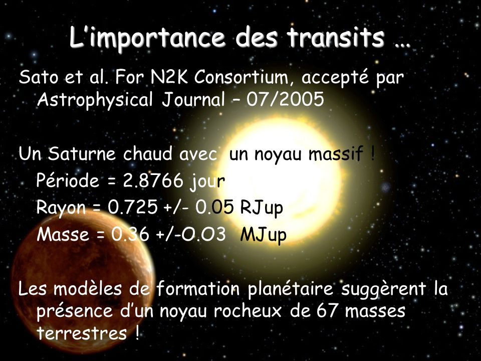 L'importance des transits …