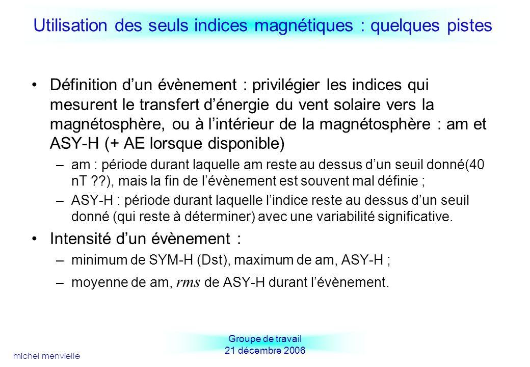 Utilisation des seuls indices magnétiques : quelques pistes