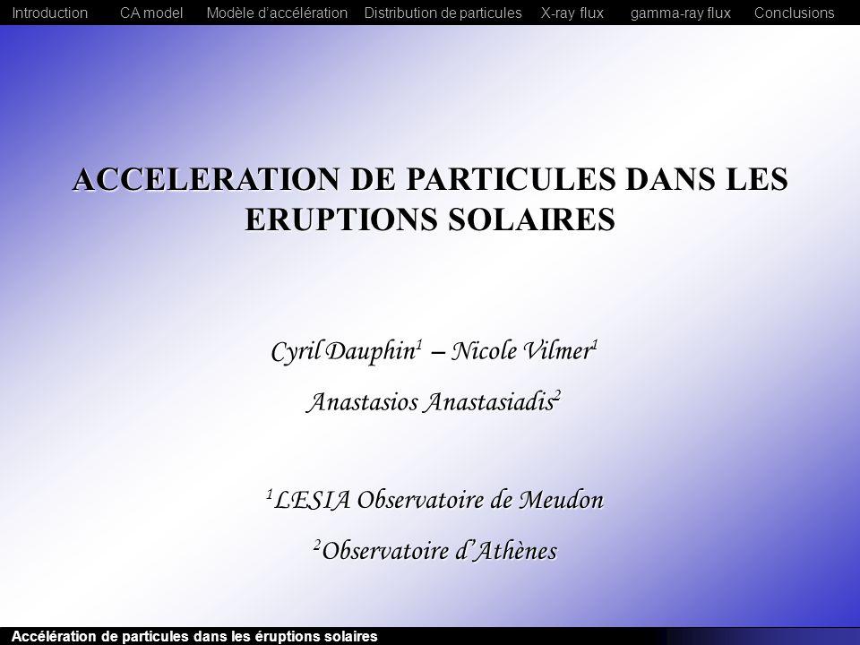 ACCELERATION DE PARTICULES DANS LES ERUPTIONS SOLAIRES