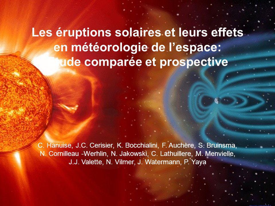 Les éruptions solaires et leurs effets en météorologie de l'espace: Etude comparée et prospective