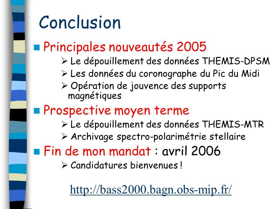 Conclusion Principales nouveautés 2005 Prospective moyen terme