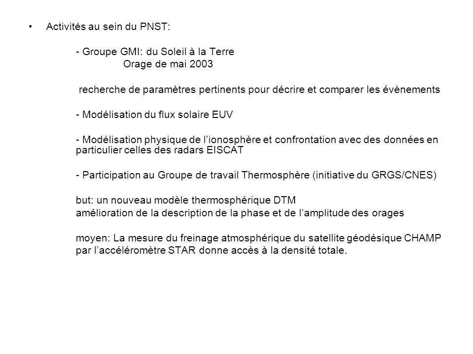 Activités au sein du PNST: