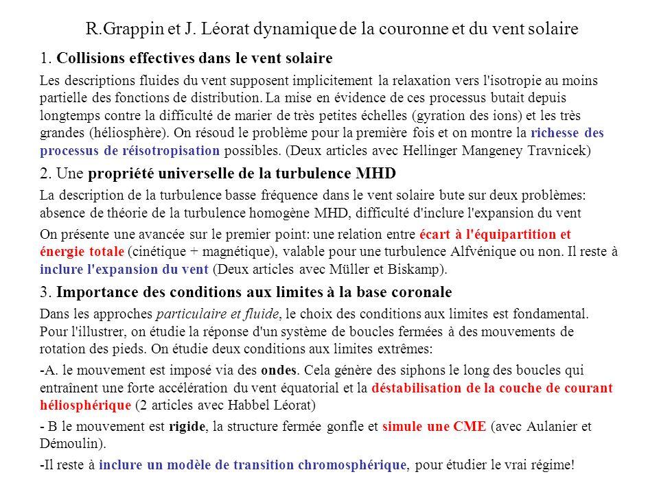 R.Grappin et J. Léorat dynamique de la couronne et du vent solaire