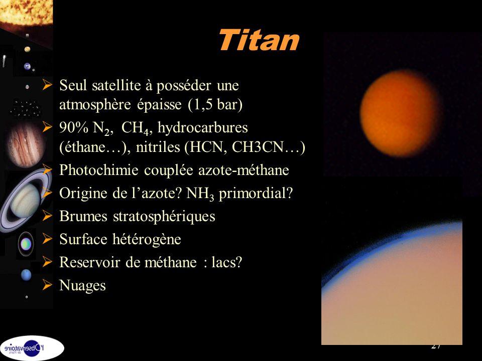 Titan Seul satellite à posséder une atmosphère épaisse (1,5 bar)