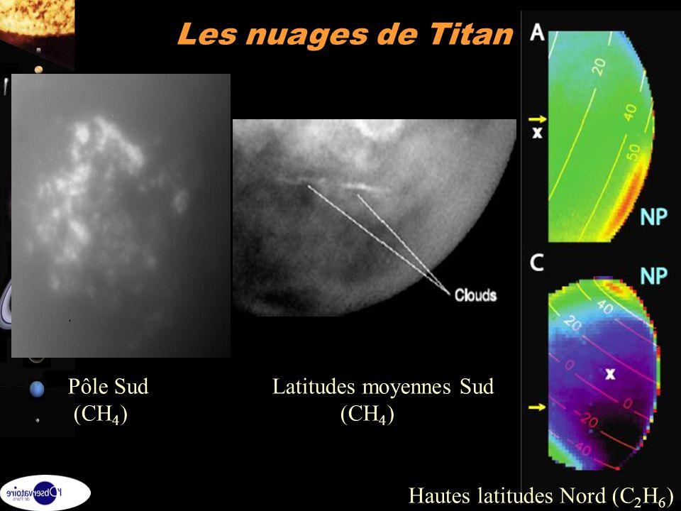 Les nuages de Titan Pôle Sud Latitudes moyennes Sud (CH4) (CH4)
